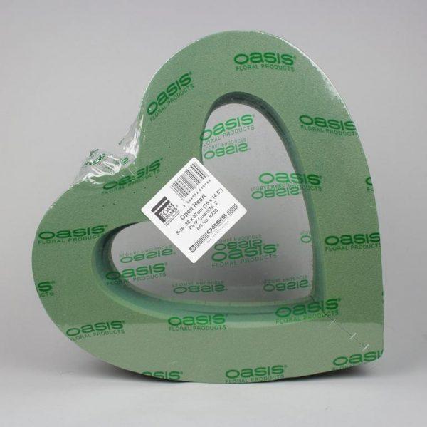 Herz mit Öffnung grün 38x37x6cm - Für Geschäfte und Künstler>Blumenarrangement>Blumenschaum