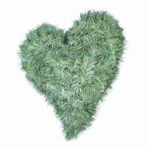 Kleines schiefes Herz - künstliche Nadeln - 45x50cm - Für Geschäfte und Künstler>Blumenarrangement>Künstliche grüne Kränze
