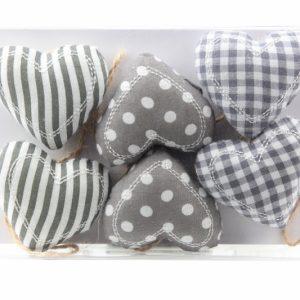 Hängende Dekoration - Herzen Textil - 6 Stück - Zuhause und Wohnen>Hausdekoration
