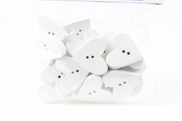 Herzknopf weiß aus Holz (bal.24) - Für Geschäfte und Künstler>Perlen