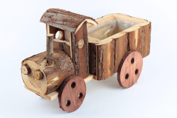 Blumentopf aus Holz mit Folie - Traktor - Für Geschäfte und Künstler>Blumenarrangements>Blumentöpfen und Körben