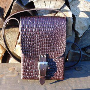 Lederhandtasche - Schoko kroko - Zubehör>Taschen und Brieftaschen