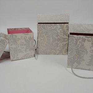 Papierbox 3 Stück graues Muster - Für Geschäfte und Künstler>Blumenarrangements>Blumenboxen