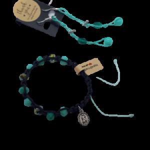 Armband und Ohrringe Türkis Schnur Holzdekor und goldene Glasperlen - Schmuck>Sets