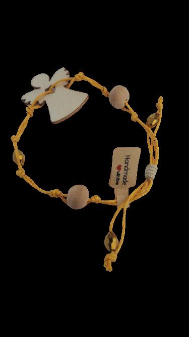 Armband gelbe Schnur Holzperlen und Engel - Schmuck>Armbänder