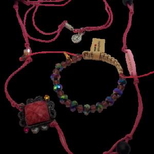 Halskette und Armband rosa Schnur