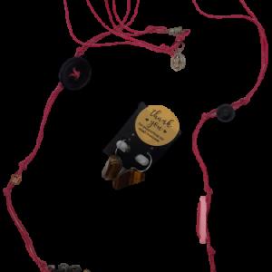 Halskette und Ohrringe rosa Schnur