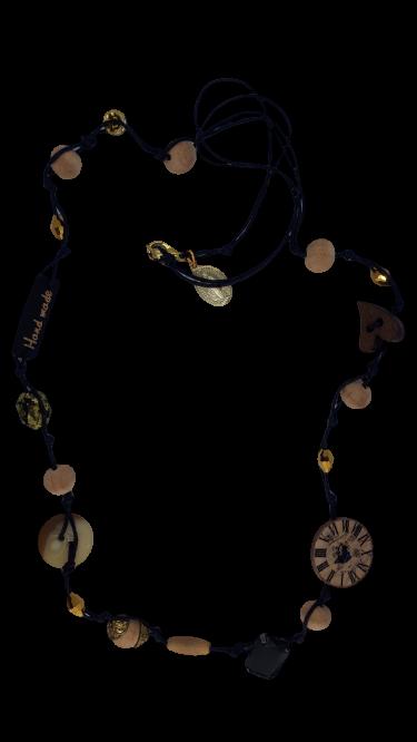 Halskette schwarze Schnur Holzdekor und goldene Glasperlen - Schmuck>Halsketten