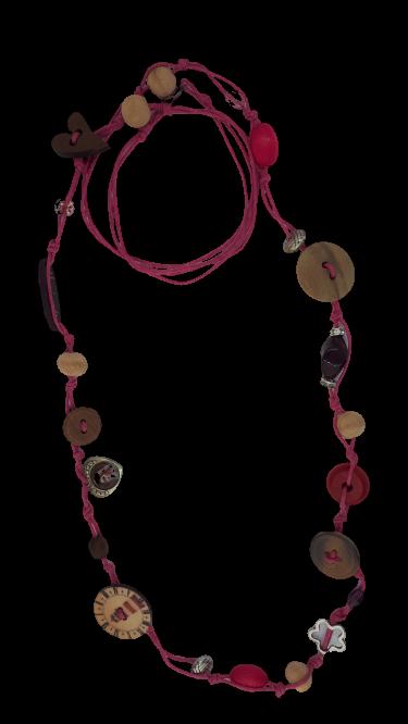 Halskette und Ohrringe rosa Schnur Holz und Metall Dekor - Schmuck>Sets