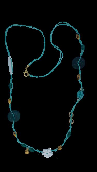 Halskette Türkis Schnur Holzdekor und goldene Glasperlen - Schmuck>Halsketten