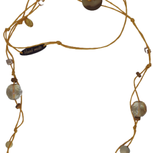 Halskette gelbe Schnur Holz- und Glasperlen - Schmuck>Halsketten