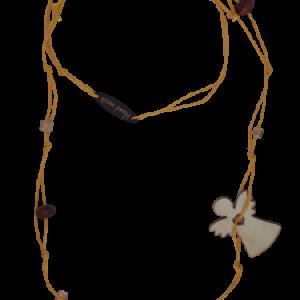 Halskette gelbe Schnur Holzperlen und Engel - Schmuck>Halsketten